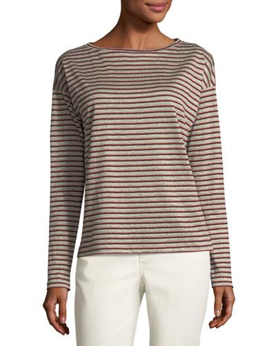 Audrey Metallic Striped Linen Top