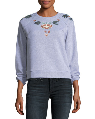 Jennings Crewneck Pullover Sweatshirt w/ Embroidery
