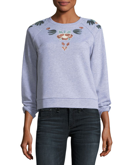 Jennings Crewneck Pullover Sweatshirt w/ Embroidery