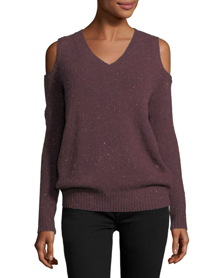 Page V-Neck Cold-Shoulder Knit Sweater