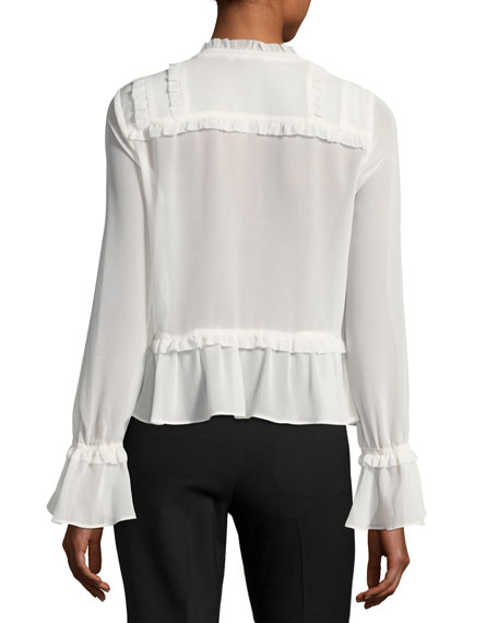 Nira Long-Sleeve Chiffon Top w/ Pintucking & Ruffled Trim