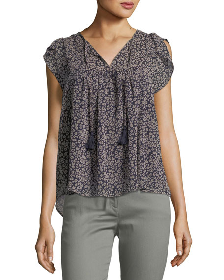 Ronna Split-Neck Animal-Print Blouse