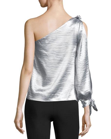 Nash One-Shoulder Metallic Blouse w/ Ties
