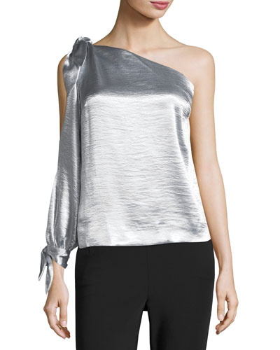 Nash One-Shoulder Metallic Blouse w/ Ties