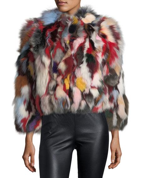 Rebecca Minkoff Rachel Multicolor Long-Sleeve Fox Fur Jacket