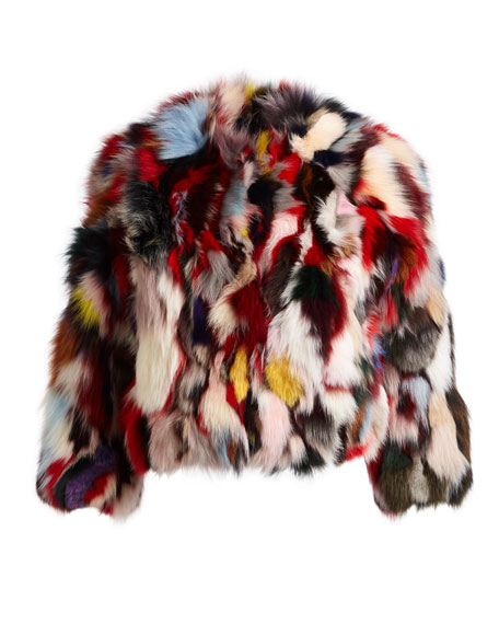 Rachel Multicolor Long-Sleeve Fox Fur Jacket