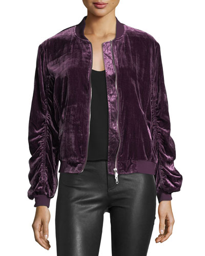 Kaya Zip-Front Ruched Velvet Bomber Jacket