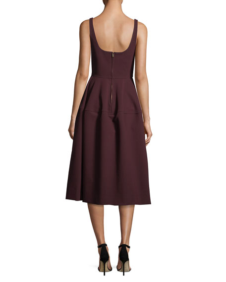 Sweetheart-Neck Sleeveless Stretch-Crepe Midi Cocktail Dress