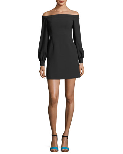 Off-the-Shoulder Stretch-Crepe Mini Cocktail Dress