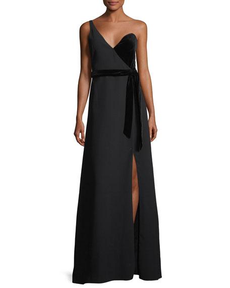 One-Shoulder Wrap Crepe & Velvet Evening Gown
