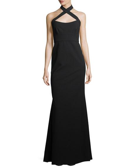 Sleeveless Halter Trumpet Evening Gown
