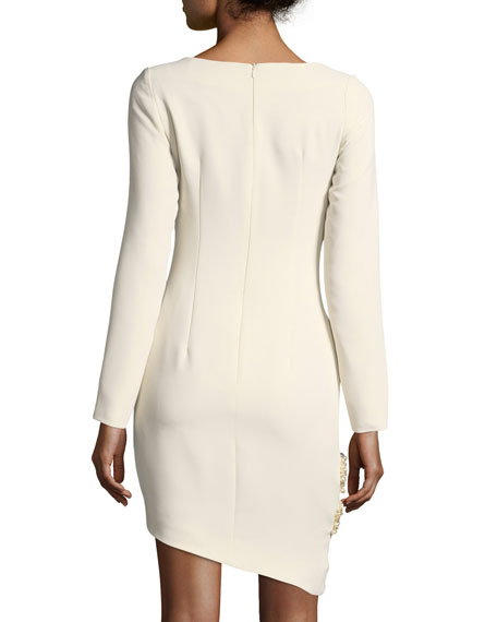 Claire Long-Sleeve Asymmetric Hem Pearlescent-Trim Cocktail Dress