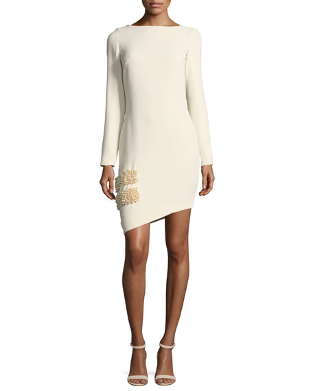 Claire Long-Sleeve Asymmetric Hem Pearlescent-Trim Cocktail Dress