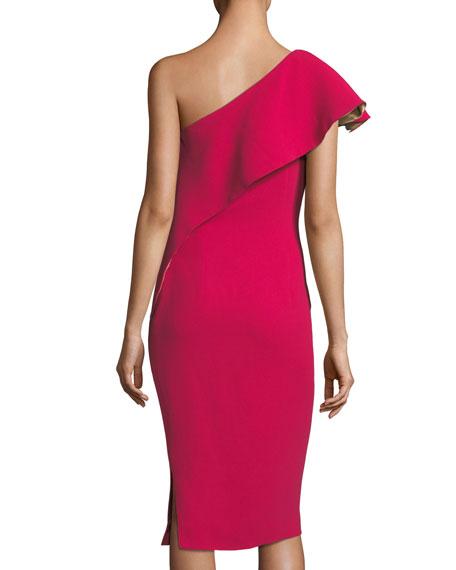 Ruffle One-Shoulder Sheath Cocktail Dress