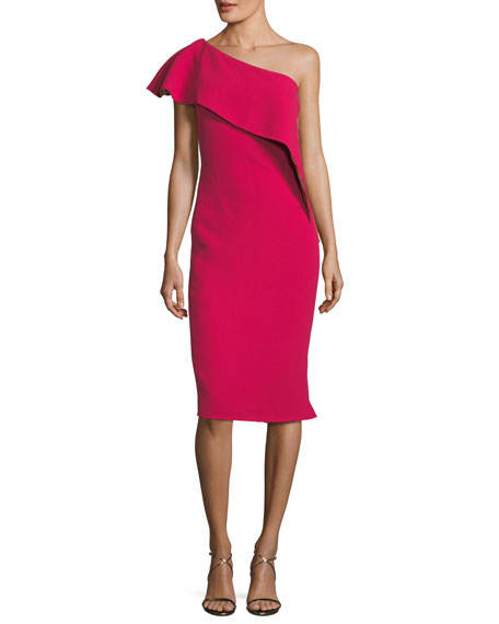 Marlene Olivier Ruffle One-Shoulder Sheath Cocktail Dress