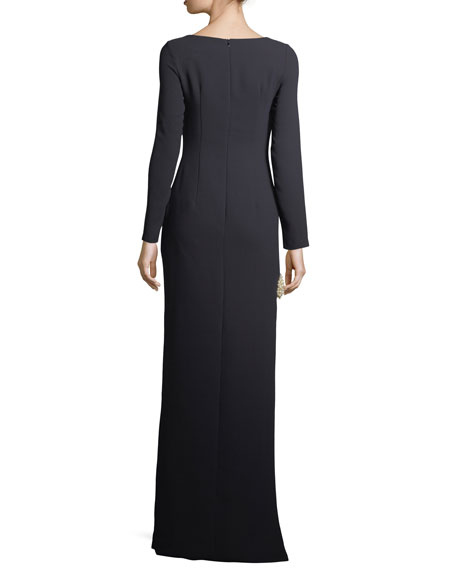 Iris Long-Sleeve Column Evening Gown w/ Pearlescent Band