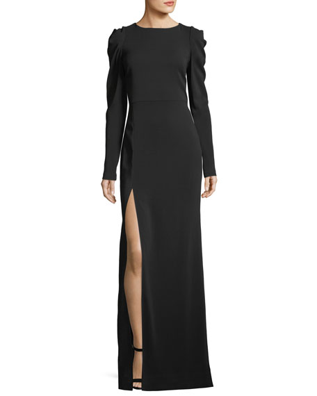 Marlene Olivier Lauren Ruched Side-Slit Gown