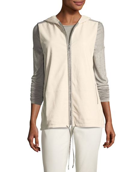 Lafayette 148 New York Francisco Vest w/Weathered Leather