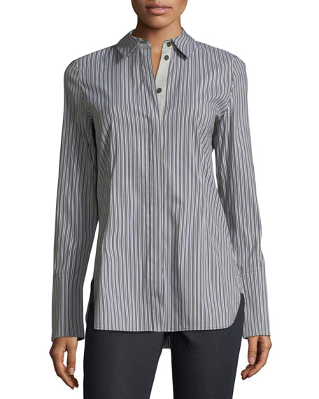 Jake Kingsbridge Stripe Shirting Blouse by Lafayette 148 New York