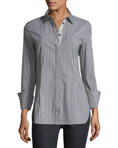 Lafayette 148 New York Jake Kingsbridge Stripe Shirting