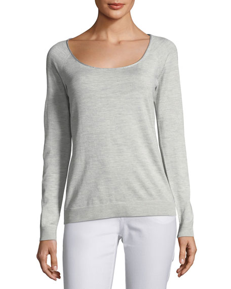 Skinny Scoop-Neck Silk-Blend Sweater