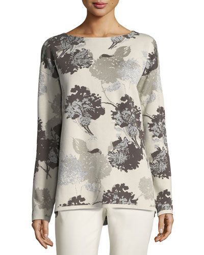 Opulent Floral Jacquard Sweater
