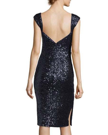 Kim Sleeveless Sweetheart-Neck Sequined Cocktail Dress