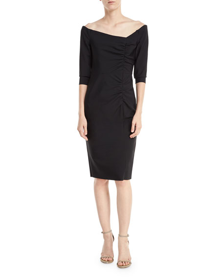 Milly Remy Off-the-Shoulder Tech-Stretch Cocktail Dress