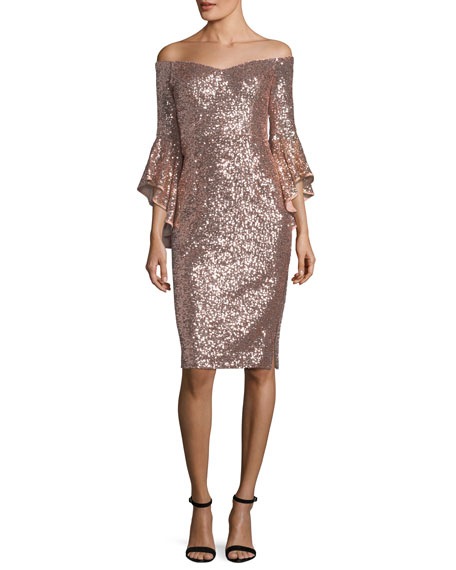 Selena Off-the-Shoulder Bell-Sleeve Sequined Cocktail Dress