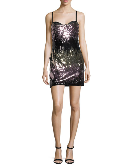 Milly Naomi Ombre Sequins Mini Cocktail Dress