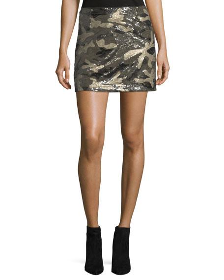 Sequined Camo Miniskirt