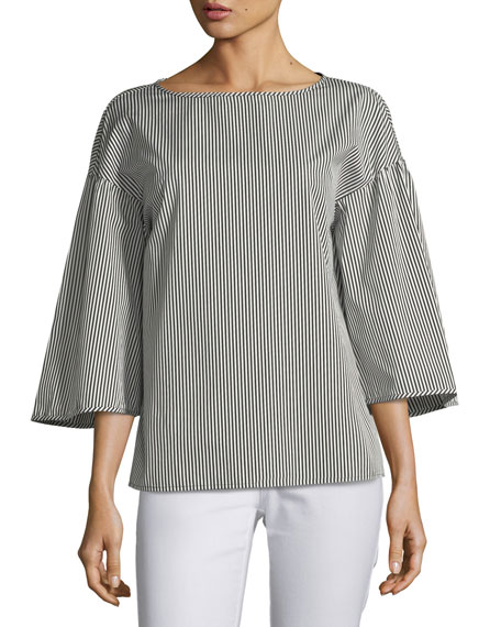 Lafayette 148 New York Gwendolyn Chatham Stripe Blouse