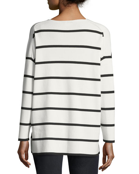 Striped V-Neck Matte Crepe Sweater