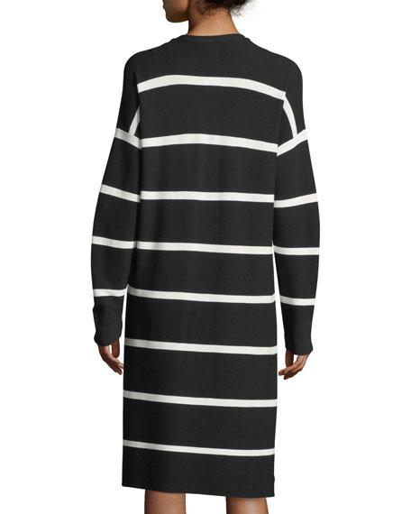 Matte Crepe Long Striped Cardigan