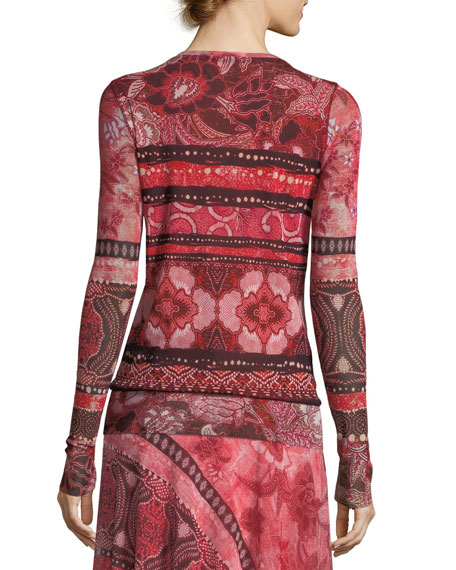 Stamp Patchwork Long-Sleeve Top