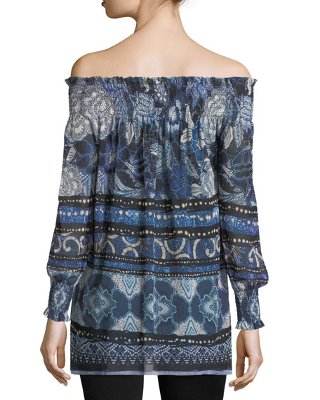 Patchwork Off-the-Shoulder Tunic