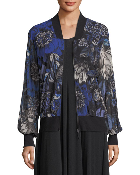 Fuzzi Marine Floral-Print Bomber Jacket and Matching Items