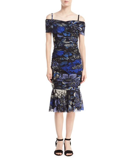 Marine Floral Off-the-Shoulder Ruched Dress