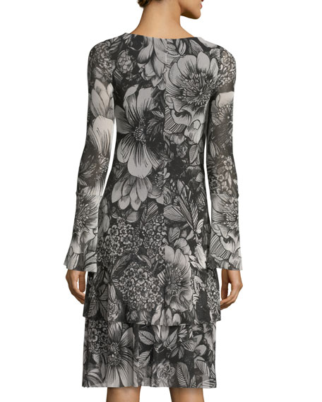 Floral-Print Long-Sleeve Swing Dress