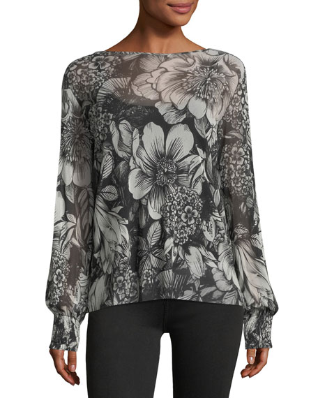 Smock-Cuff Floral-Print Top