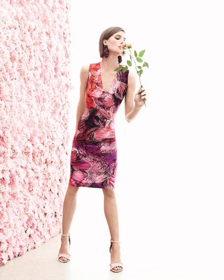 V-Neck Floral-Print Ponté Dress