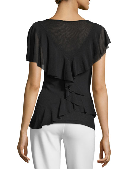 Ruffle-Sleeve V-Neck Top