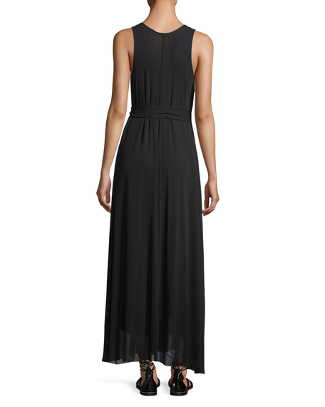 Tulle Full Belted Maxi Tank Dress