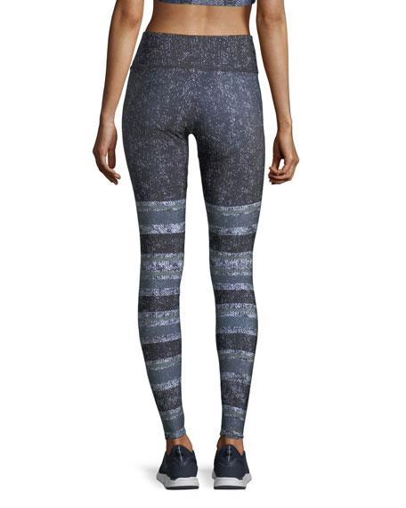 Textured Stripe Graphic-Print High-Waist Performance Leggings