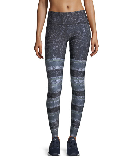 Onzie Textured Stripe Graphic-Print High-Waist Performance Leggings