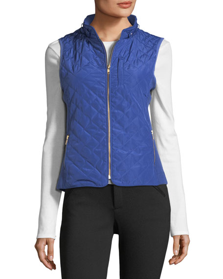 Stand-Collar Quilted Vest