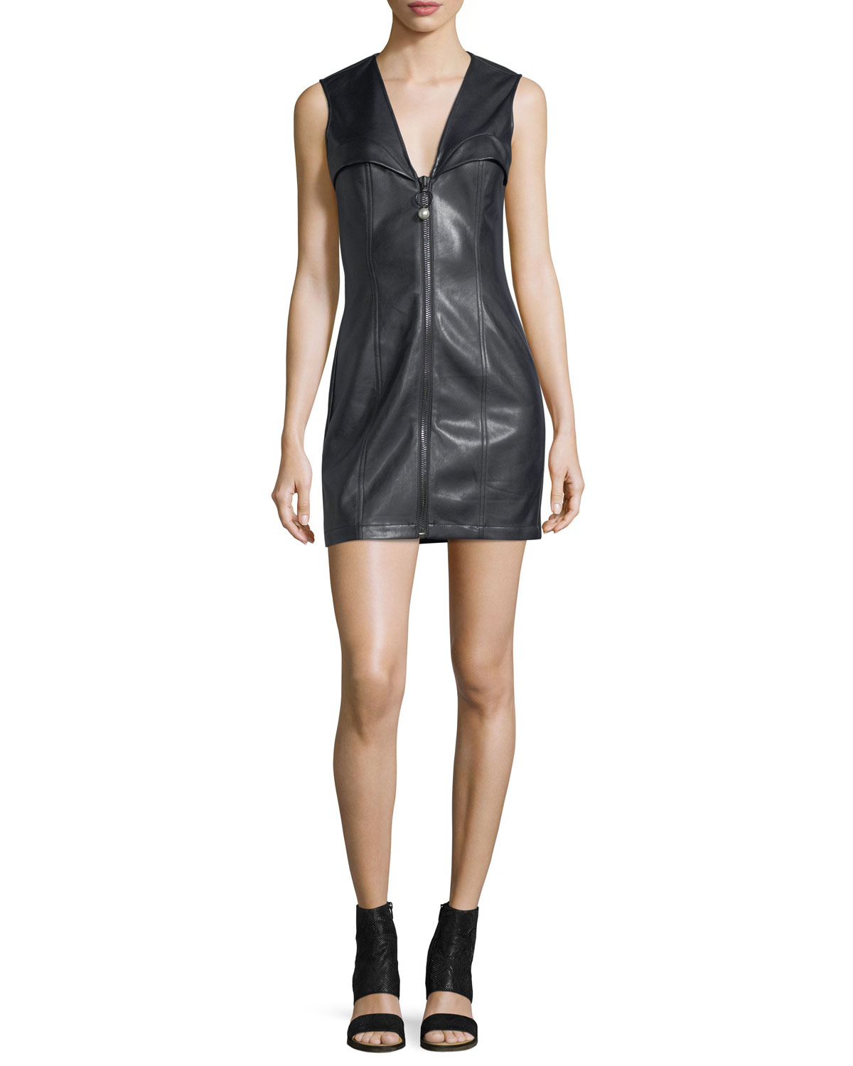 eca7ad6f961 Opening Ceremony Faux-Leather Bustier Sleeveless Zip-Front Mini Dress