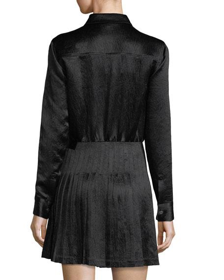 Long-Sleeve Crinkle Satin Pleated Kilt Dress