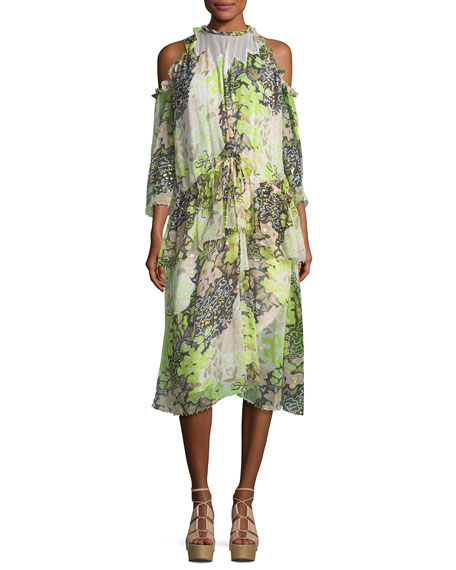 Opening Ceremony High-Neck Floral-Print Midi Dress with Ruffled