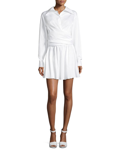 Collared Wrap-Front Sateen Shirtdress